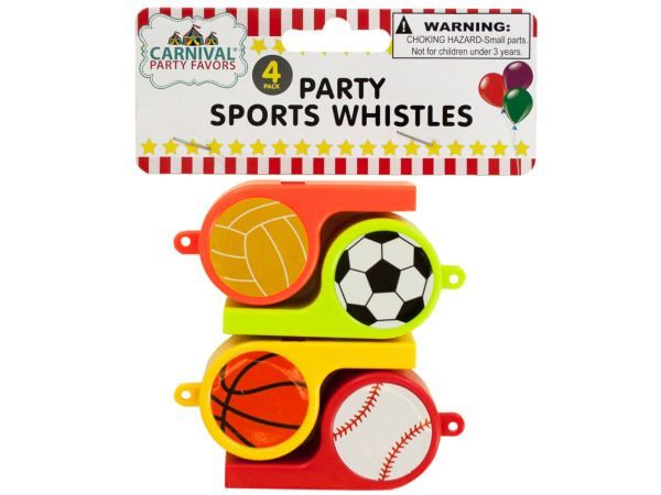 """Party Sports Whistles, 48 - Perfect for celebrating and great as party favors, this 4-piece Party Sports Whistles Set features colorful plastic whistles with stickers of a basketball, soccer ball, basketball and baseball. Each whistle measures approximately 2.75"""" long and has a hole for attaching cords (not included) . Comes packaged in a poly bag with a header card.-Colors: black,brown,white,yellow,green,red,orange. Material: plastic,paper. Weight: 0.1944/unit"""