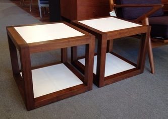 Pair Walnut 2 tiered cube tables. Milo Baughman for Thayer Coggin c.1970 18 x 18 x 16 1/4h Dealer CK $995