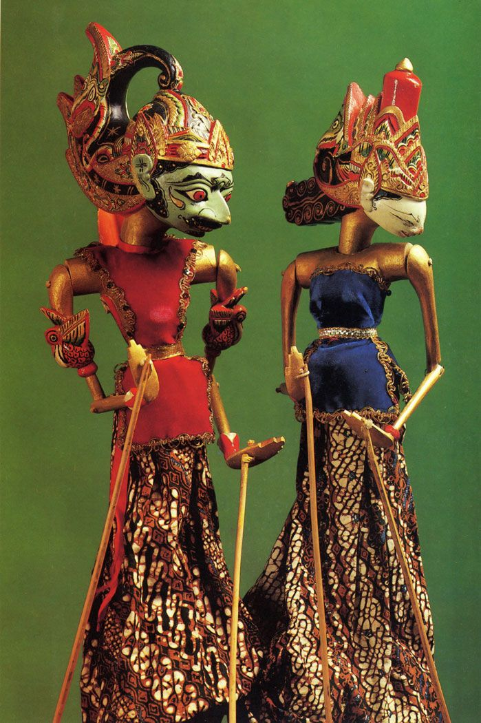 Wayang golek puppets  Java, Indonesia. 20th century. Carved and painted wood, fabric.  The Museum of Oriental Art, Moscow