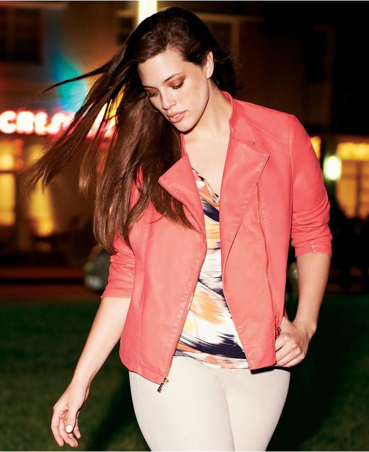 Calvin Klein Plus Size Jacket, Faux Leather Ribbed Motorcycle - Plus Size Jackets & Blazers - Plus Sizes - Macys
