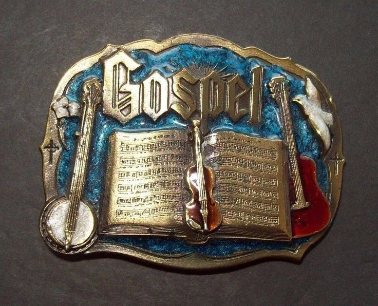 Gospel Music Belt Buckle By Great American Buckle Co USA Guitar Violin Banjo #GreatAmericanBuckleCompany