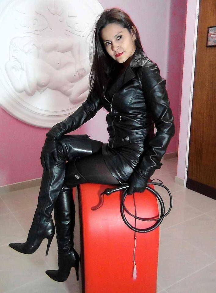 Dominant latina whips and punishes in leather 7