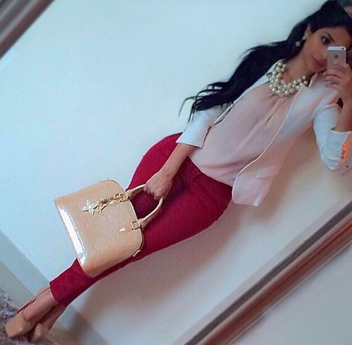 nice classy work possible outfit. Red pants nude silk top with white blazer or cardigan and nude Louis Vuitton