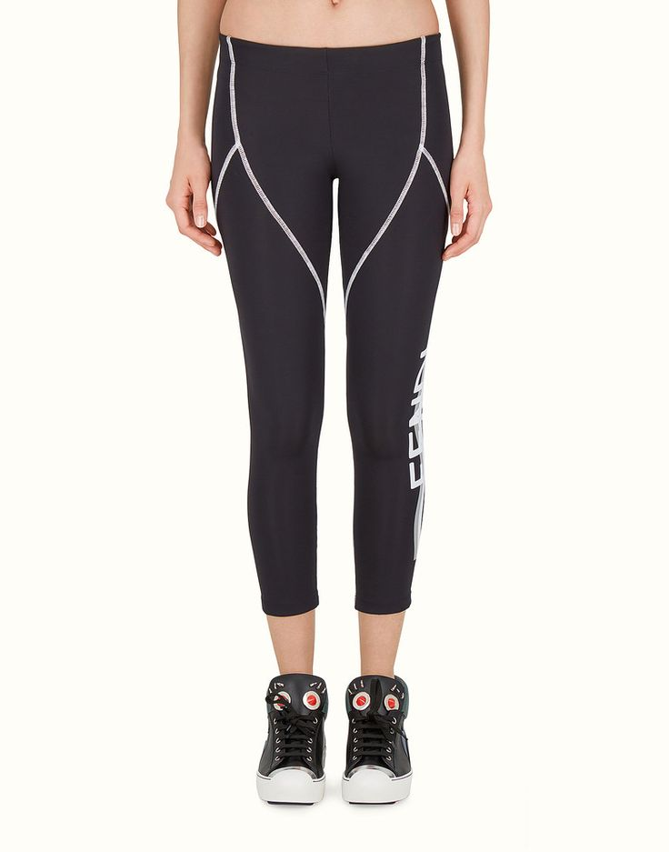 FENDI LEGGINGS - Black fabric capri leggings - view 1 detail