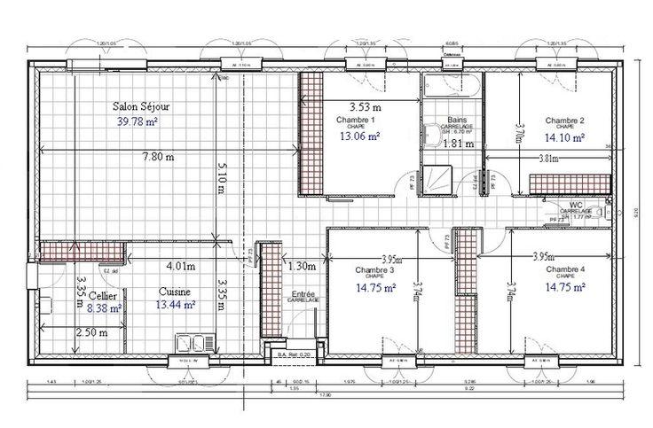 Plan de maison plain pied gratuit 4 chambres 1 for Architecture de maison gratuit