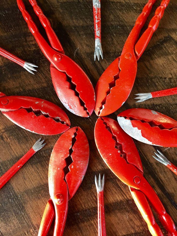 Vintage LOBSTER CRACKER SET of 6, Red Metal Lobster Crackers and Picks, Old Cape Cod Lobster Cracker Set, Chippy by BarnboardAntiques on Etsy