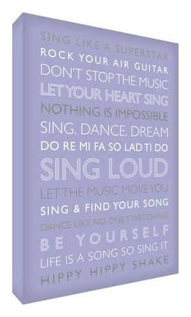 Feel Good Art Gallery Wrapped Box Canvas with Solid Front Panel (30 x 20 x 4 cm, Small, Lilac, Sing Loud)