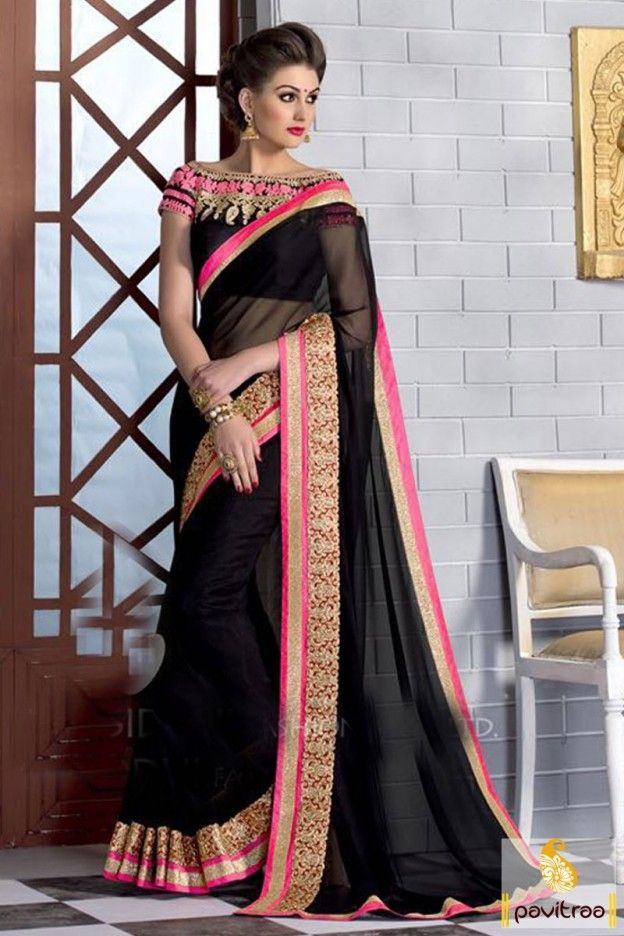 Enjoy the every moment wearing Manjaree black silk material saree with embroidered blouse for wedding, mahendi and sangeet function. New best latest lace border girls wear Indian sarees in low cost. #georgettesaree, #Indiansaree, #sareecollection, #buysareesonline, #beautifulsaree, #cheapsarees, #designersaree, #sareewithblouse, #fancysaree, #silksaree, #fashionsarees, #newtrendysaree More: http://www.pavitraa.in/store/designer-sarees/ Any Query: Call Us:+91-7698234040