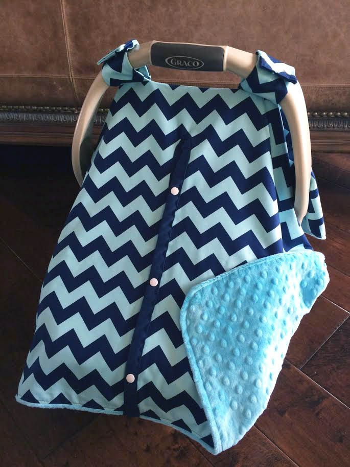 Super Cute Baby Car Seat Covers - CHEVRON in Navy/Teal with Teal Minky by kitcarsonblue on Etsy