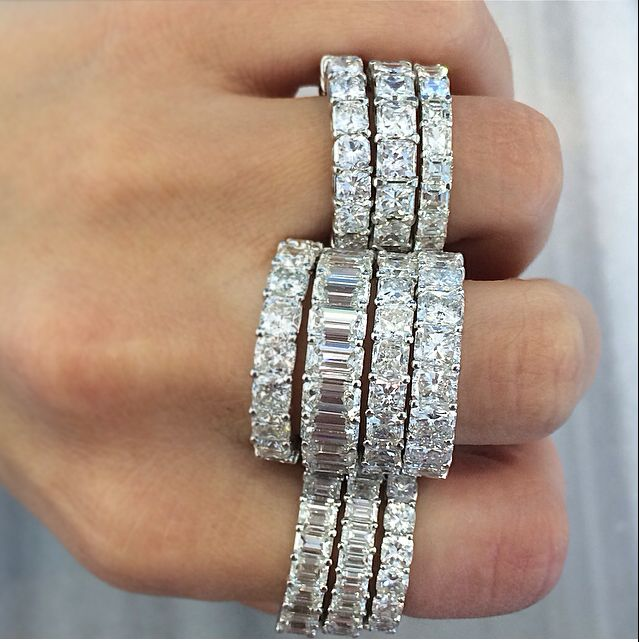 Wedding band Tuesday! We love our TWO by London diamond wedding and eternity bands. Which stack is your favorite? #twobylondon #americana #diamonds #weddingbands #eternitybands #love #wedding #sparkle #stack #beautiful #emerald #round #radiant #cushioncut #instadaily #picoftheday
