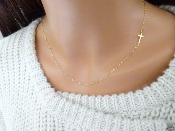 Pendentif collier de baptême Croix collier en or par LAminiJewelry