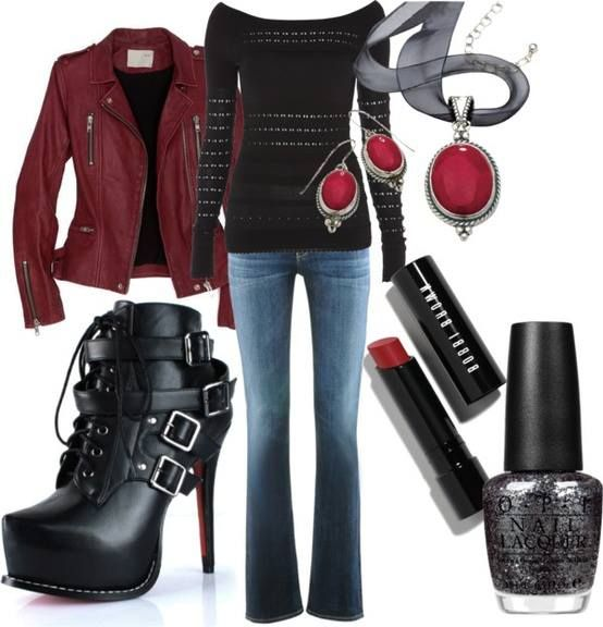 rock clothes. black and red