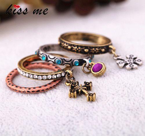 Accessoires de mode sculpté croix vintage ensemble de bague de femmes anneau Usine En Gros