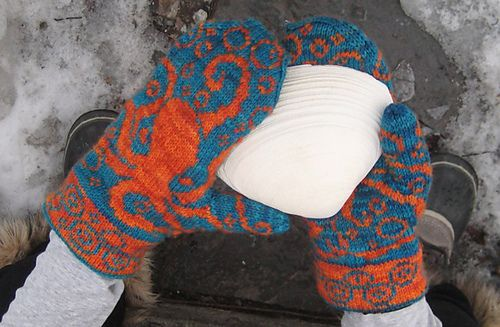 Octopus Mittens are a pair of stranded colorwork mittens.
