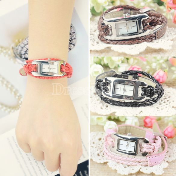 New Fashion Retro Ladies Quartz Sennit Bracelet Charm Wrist Watch 5 Colors
