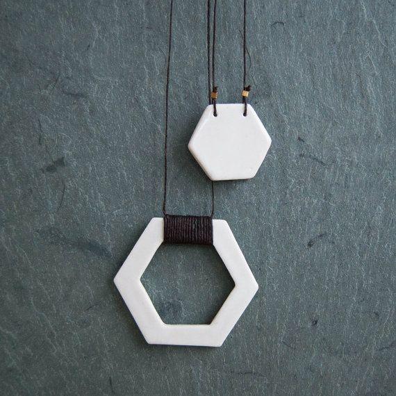 White Glazed Porcelain Hexagon Pendant Duo  by StudioLorraine, $52.00
