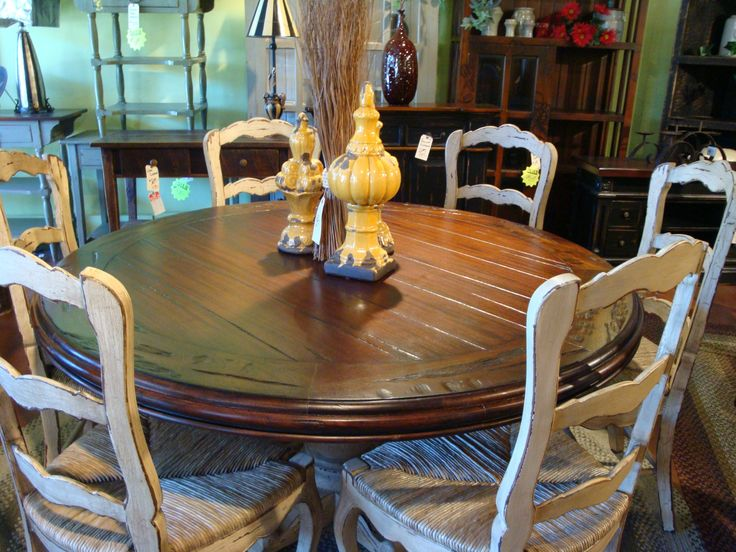 60 Round Hand Carved Pedestal Dining Table French Country Reclaimed Top
