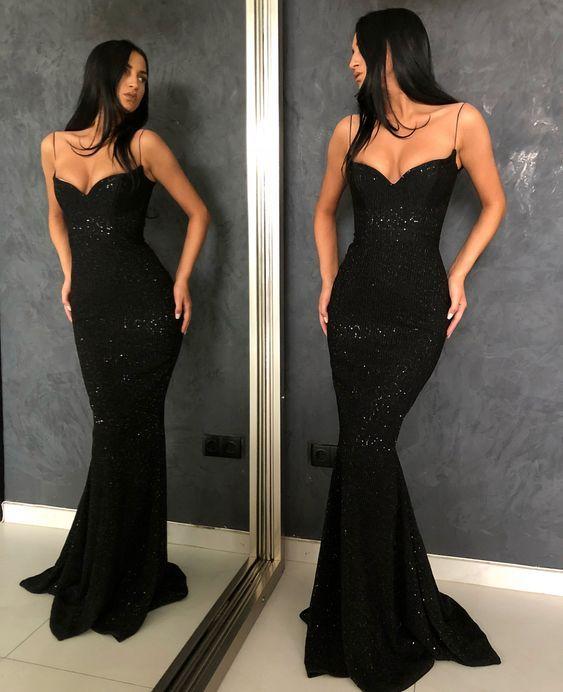 82bfa8c431 Charming Mermaid Low Cut Spaghetti Straps Open Back Black Sequins Long Prom  Dresses
