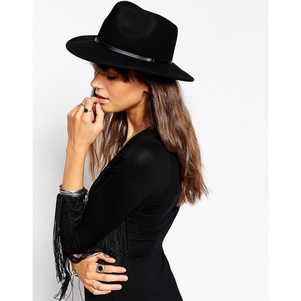ASOS Felt Panama Fedora Hat (48 CAD) ❤ liked on Polyvore featuring accessories, hats, black, felt hat, black felt hat, black fedora, felt crown and asos