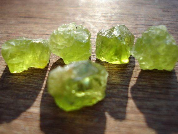 Rough Green Peridots  5 Raw Uncut Green Gems  by magicgemsbox