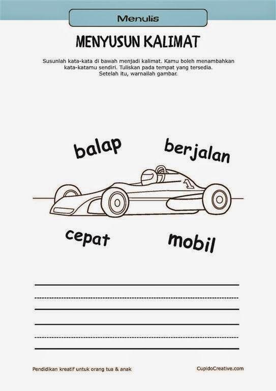 belajar membaca & menulis anak TK/SD, menyusun kata menjadi kalimat & mewarnai gambar mobil balap