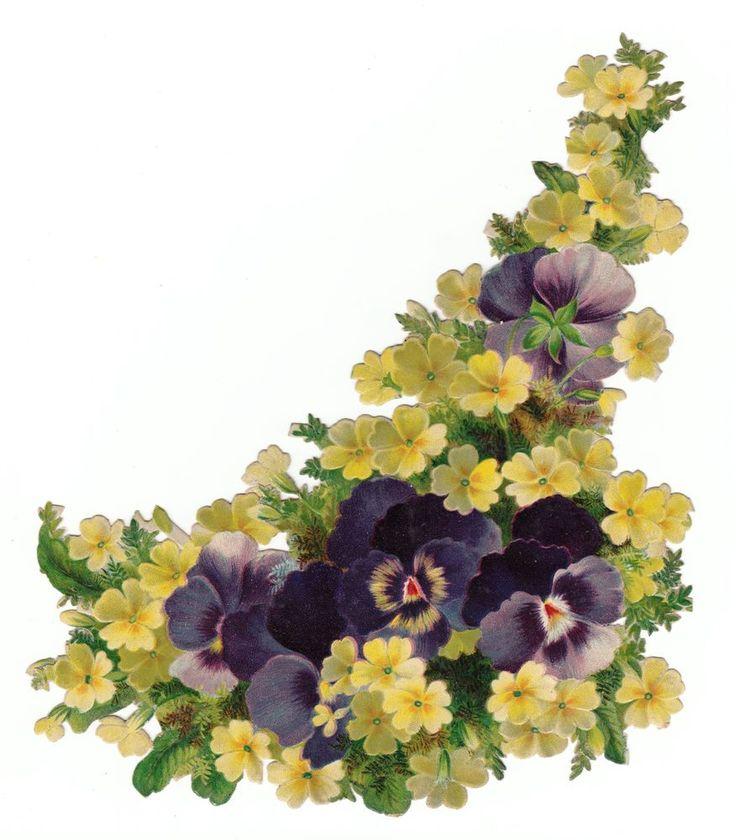 Oblaten Glanzbild  scrap die cut chromo /Frühlingsblumen  XL 19  cm