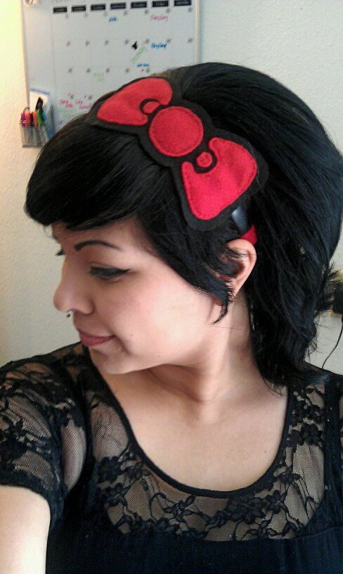 Hello Kitty Bow Headband by MaryMars on Etsy, $10.00