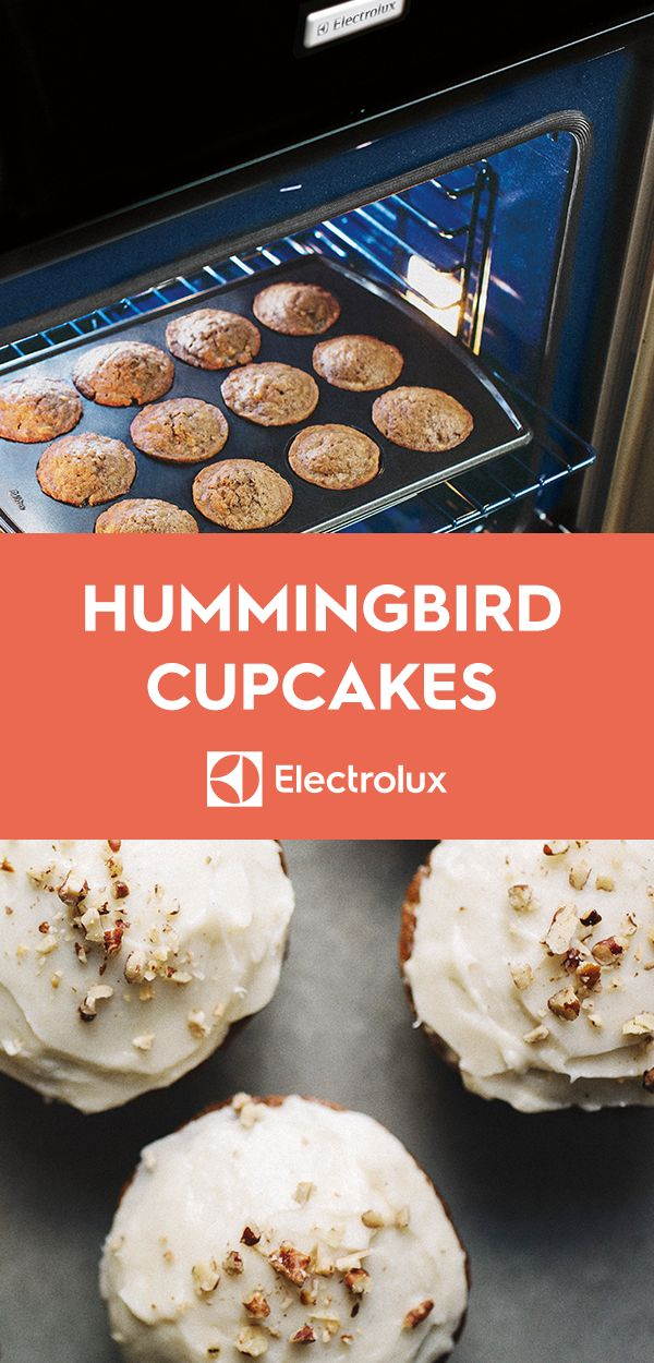 Whole grains complement fresh fruit and cream cheese frosting in this popular southern treat. @sproutedkitchen of Sprouted Kitchen gives a healthy twist to the classic and typically decadent hummingbird cupcake recipe.