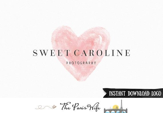 Instant Download Logo #Watercolor Heart Logo Photography Logo Photoshop Logo PSD
