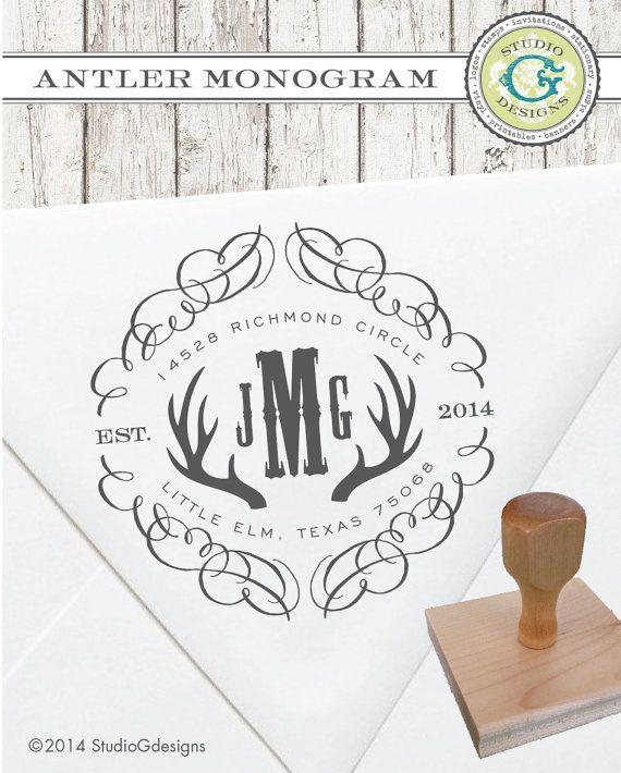 DEER ANTLER MONOGRAM  --  1.5x1.5 in  --  Personalized Return Address Rubber Stamp Wedding Paper Goods