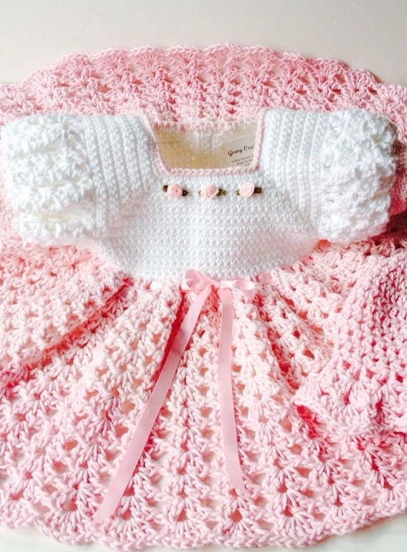 Crochet vestido de bebé de algodón sombrero rosa y por GoingCrafty