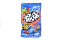 A box of 12 bags of Jolly Rancher.  This delicious assortment of mouth-watering hard candy bursting with various bold, fruity flavours is great to eat while watching television or during a long bus, car, train or plane journey.
