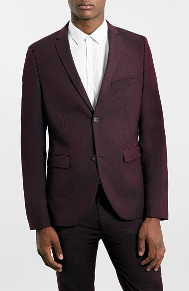 Topman+Burgundy+Ultra+Skinny+Fit+Suit+Jacket+available+at+#Nordstrom