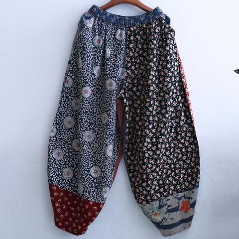 Multi Print Elastic Waist Baggy Pants