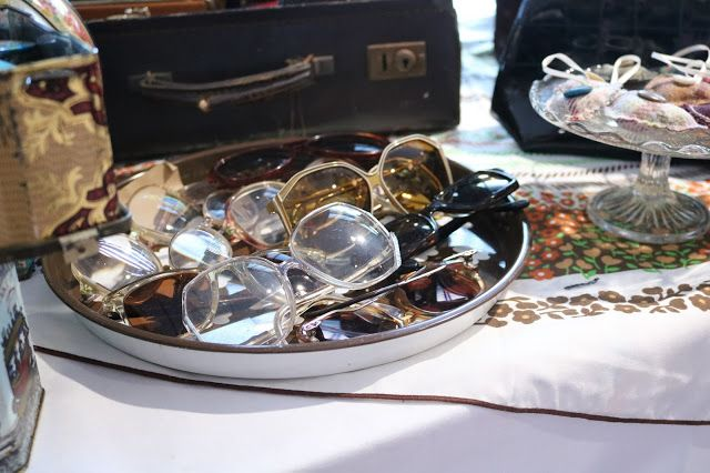 vintage, retro glasses and sunglasses on sale at the Candy Belle's Vintage Christmas fair in Aberdeen, Scotland.