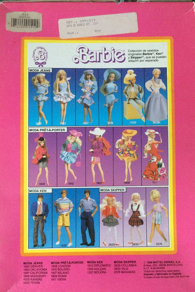 Barbie superstar fashions - MODA LENCERIA - Exclusive from Spain, 1988