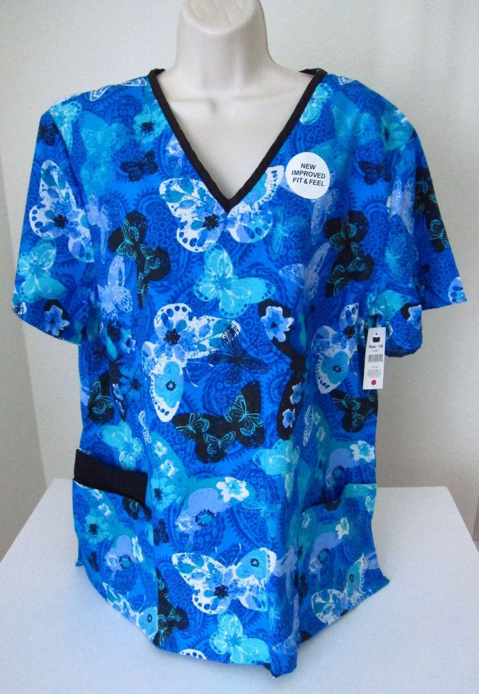 B Scrubs 1X Blue Butterflies Uniform Medical Short Sleeve NWT #BobbieBrooks