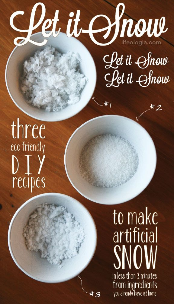 DIY Artificial Snow (made from natural ingredients). Paper towel, Sea Salt, Baking Soda, and/or White Sugar. Great for Waterless Snow Globes for kids.