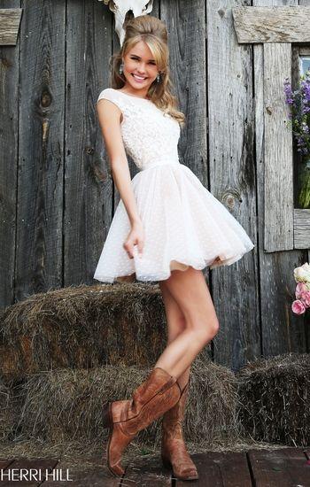 White formal dress Sherri hill