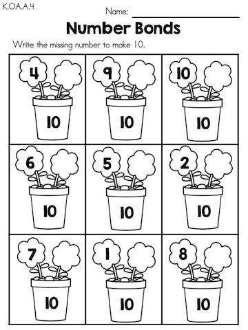 Spring Number Bonds >> Part of the Spring Kindergarten Maths Worksheets packet
