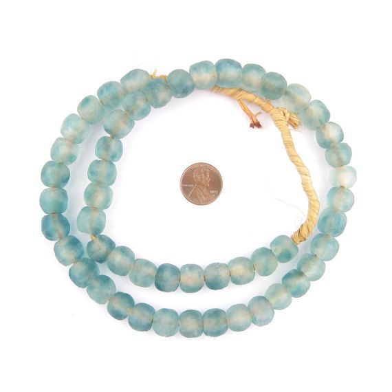 50 Blue Wave Marine Recycled Glass Beads: Bottle Eco-Friendly