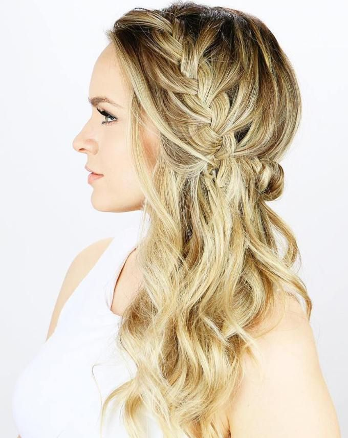 Side Braid Half Updo