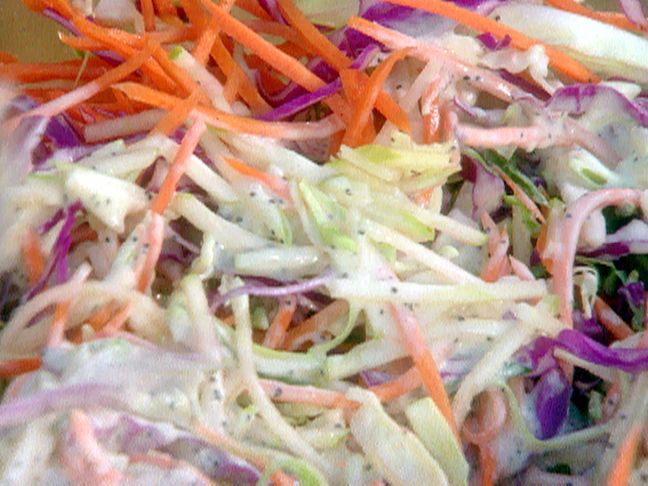 Apple Coleslaw Recipe : Food Network - FoodNetwork.com - I didn't put in parsley or poppyseeds & substituted red wine vinegar.  So yummy!