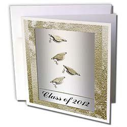 """Beverly Turner Graduation Design - Class of 2012, Caps with Tassels, Silver and Gold - Greeting Cards-12 Greeting Cards with envelopes by Beverly Turner Photography. $15.95. Class of 2012, Caps with Tassels, Silver and Gold Greeting Card is a great way to say """"thank you"""" or to acknowledge any occasion. These blank cards are made of heavy duty card stock with a gloss exterior and a matte interior for smudge free writing. Cards are creased for easy folding and come with white enve..."""