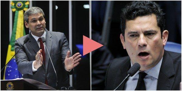 O senador Lindbergh Farias (PT-RJ), líder da oposição, marchou nesta quinta (1º) sobre o juiz federal Sérgio Moro durante a audiência pública no Senado.
