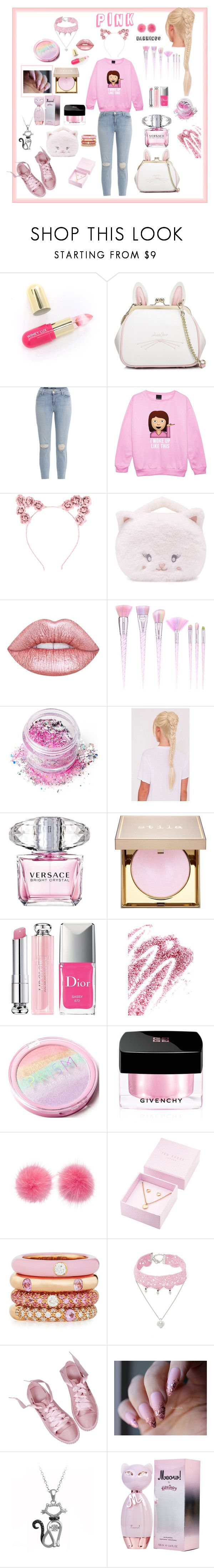 """""""Pink 💖"""" by tinatin97 ❤ liked on Polyvore featuring Winky Lux, WithChic, J Brand, Hot Topic, Forever 21, Lime Crime, In Your Dreams, Versace, Stila and Christian Dior"""