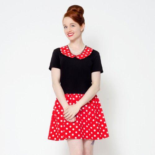 Red polka dot peter pan collar, retro 60's pin up