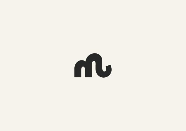 Typographic Logos by George Bokhua, via Behance-It's an M, but also an elephant!