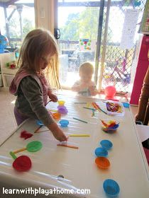 Learn with Play at Home: Sticky Table Garden. Contact Paper Activity for Kids