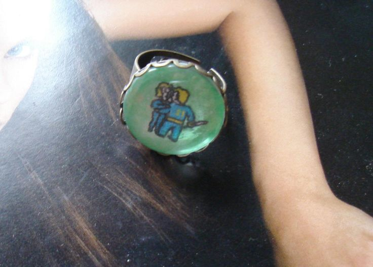 Fallout style ring, fallout signet, post apocalyptic jewelry, fluorescent ring http://www.bonanza.com/listings/Fallout-style-ring-fallout-signet-post-apocalyptic-jewelry-fluorescent-ring/314286542